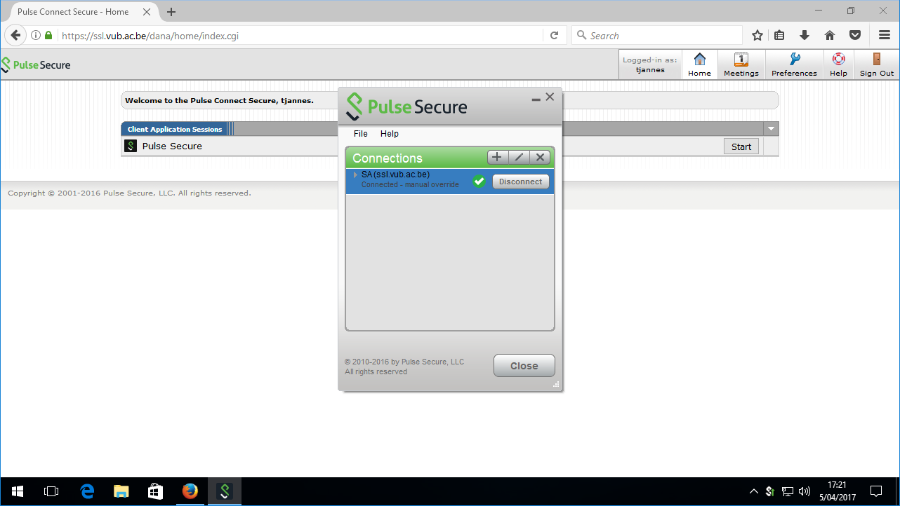 Configuration of the Pulse Secure VPN | VUBnet